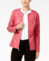 Alfani Faux-Leather Peplum Jacket, Only at Macy's