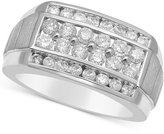 Macy's Men's Diamond Linear Cluster Ring (1-1/2 ct. t.w.) in 10k White Gold