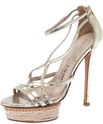 Le Silla Metallic Gold Python Embossed Leather Strappy Platform Sandals Size 36