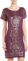 Neiman Marcus Sequin-Embellished A-Line Dress, Mulberry