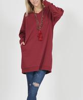 Burgundy Oversize Pocket V-Neck Sweatshirt - Plus
