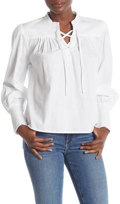 Frame Lace-Up Long Sleeve Blouse