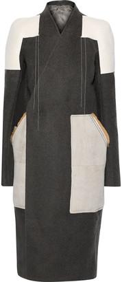 Rick Owens Faux Suede-paneled Camel And Linen-blend Coat