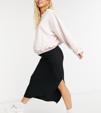 ASOS DESIGN Maternity bias cut jersey midi slip skirt with split in black