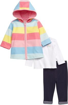 Little Me Rainbow Rain Jacket, Tee & Leggings Set