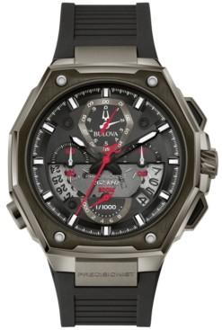 Bulova Men's Precisionist X Black Epdm Rubber Strap Watch 44.5mm