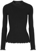 Alexander Wang Embellished Ruffle-trimmed Ribbed Cotton Sweater - Black