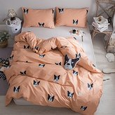 Twin Kids Puppy Dog Print Duvet Cover Set 100% Cotton Orange Animal Pattern Children Duvet Cover and 2 Pillow Shams,3 Piece Microfiber Premium Bedding Collection,Twin