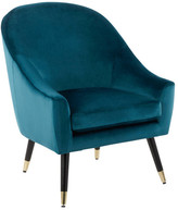 Lumisource Matisse Accent Chair, Teal Velvet With Gold Accent