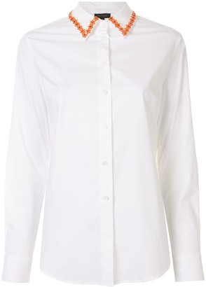 Escada Flower Collar Long Sleeve Shirt