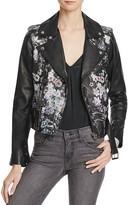 Parker Cooper Floral Print Leather Jacket