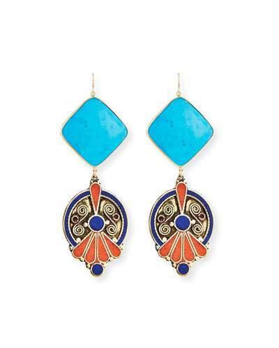 Devon Leigh Turquoise & Lapis Bezel Statement Earrings