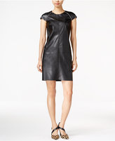 Bar III Faux-Leather Zip-Detail Shift Dress, Only at Macy's