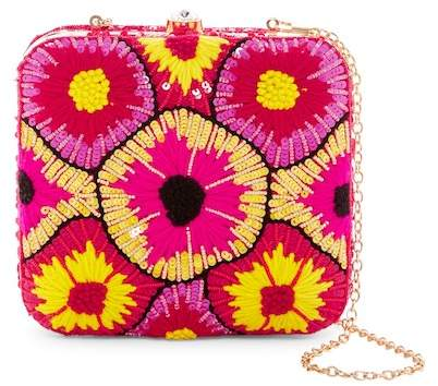 G Lish G-Lish Sequined & Woven Starburst Squared Hard Case Clutch
