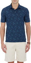 Zanone MEN'S FLORAL POLO SHIRT-BLUE SIZE XXL