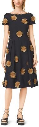 Michael Kors Raffia-Embroidered Silk-Viscose Boatneck Dress