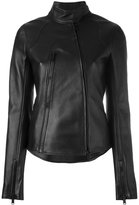 Paco Rabanne zipped biker jacket - women - Cotton/Lamb Skin/Spandex/Elastane/Viscose - 36