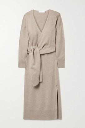 Jonathan Simkhai Skyla Knitted Wrap Midi Dress - Taupe