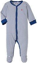 Petit Bateau Stripe Front Snap Footie (Baby) - Blue/White-6 Months