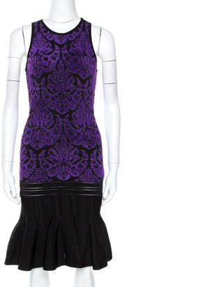 Roberto Cavalli Bicolor Lurex Jacquard Knit Midi Dress S