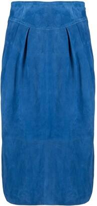 Alberta Ferretti Suede Pencil Skirt