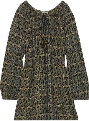 Mes Demoiselles Baltimore Metallic Fil Coupe Cotton-blend Mini Dress