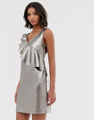 Vila metallic mini shift dress in grey with frill detail