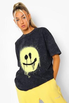 boohoo Tall Acid Wash Spray Face T-shirt