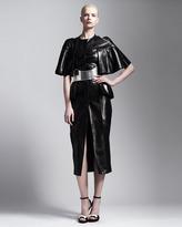 Alexander McQueen Cape-Sleeve Leather Dress, Black