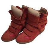 Isabel Marant Red suede and leather Bayley sneaker wedges