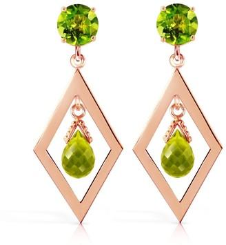 Overstock 2.4 CTW 14K Solid Rose Gold Peridot Dangling Earrings