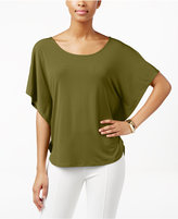 NY Collection Grommet-Back Poncho Top