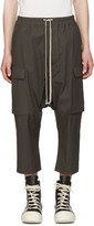 Rick Owens Grey Cropped Drawstring Cargo Trousers
