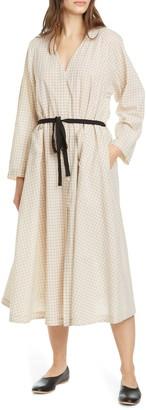 Sara Lanzi Belted Long Sleeve Midi Dress