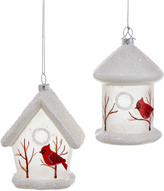 Kurt Adler Birdhouse With Cardinal Ornament 2Pc Set