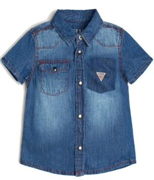 GUESS Boys Short Sleeve Denim Shirt