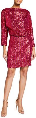 ONE33 SOCIAL Stripe Sequin Draped Back Mini Dress