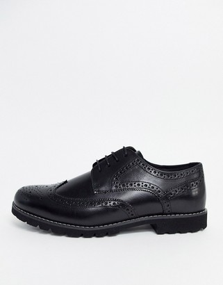 Red Tape leather brogue shoe in black