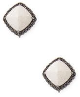 Paolo Costagli White Agate Sugarloaf Earrings Set in Black Diamonds