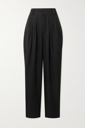 Alessandra Rich Vichy Pleated Wool Tapered Pants - Black