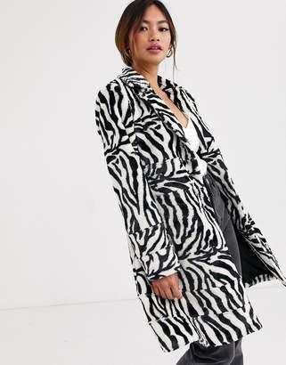 The East Order zebra faux fur coat-Black