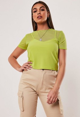 Missguided Lime Mesh Layered Crop Top
