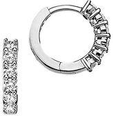 Roberto Coin Diamond and 18K White Gold Single Line Hoop Earrings, 0.6in