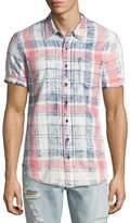 True Religion Plaid Short-Sleeve Denim Shirt, Indigo