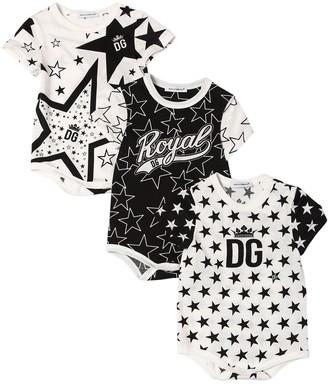 Dolce & Gabbana Set Of 3 Cotton Jersey Bodysuits