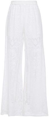 Dolce & Gabbana Crocheted Cotton-blend Wide-leg Pants