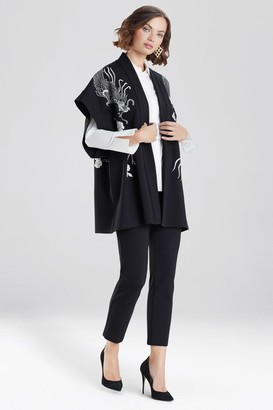 Natori Solid Ponte Embroidered Dragon Kimono