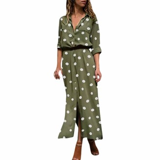 Uulike Women Dress UULIKE Womens V-Neck Long Sleeve Maxi Dress Fashion Wave Point Button Waist Dress Autumn and Winter Elegant Evening Party Prom Cocktail Beach Sun Dress for Ladies Army Green