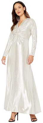 Tahari ASL Petite Long Sleeve Twist Front Metallic Stretch Gown (Silver Powder) Women's Dress