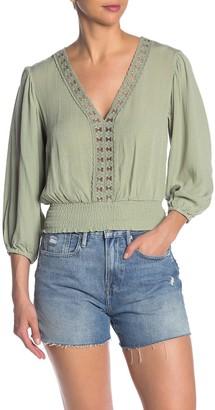 June & Hudson Lace Trim Smocked Waist Crop Top